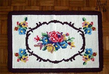 Fios de lã em tapeçaria artesanal