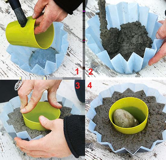 Etapas da montagem do vaso de cimento