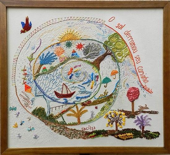 Mandala, quadro com bordado de Jaci Ferreira