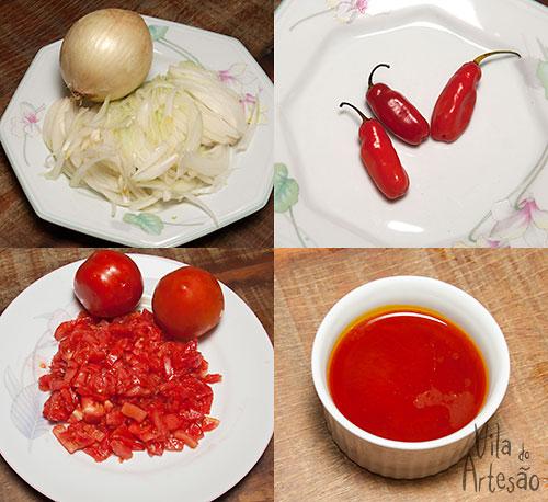 Ingredientes iniciais do bobó