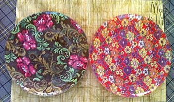 Pratos com tecido decupado