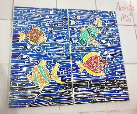 Mosaico, técnica da artesã do mês de setembro