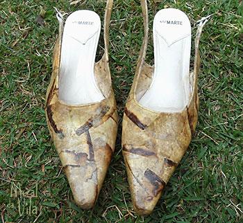 Sapato restaurado com filtro de café