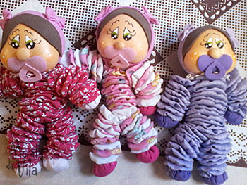 Bonecas bebês de fuxico