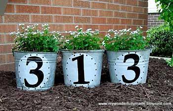 Números para a casa nos baldes