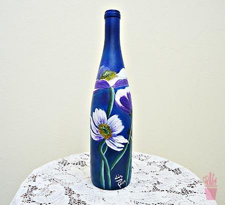 Pintura decorativa em garrafa