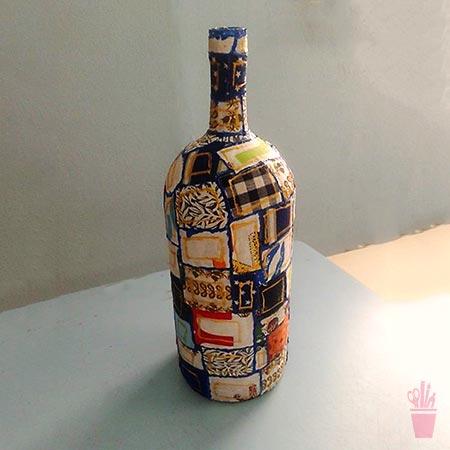 MAis reciclagem com patchwork em garrafa