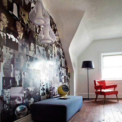 Preendhendo paredes com revistas, gravuras e figuras