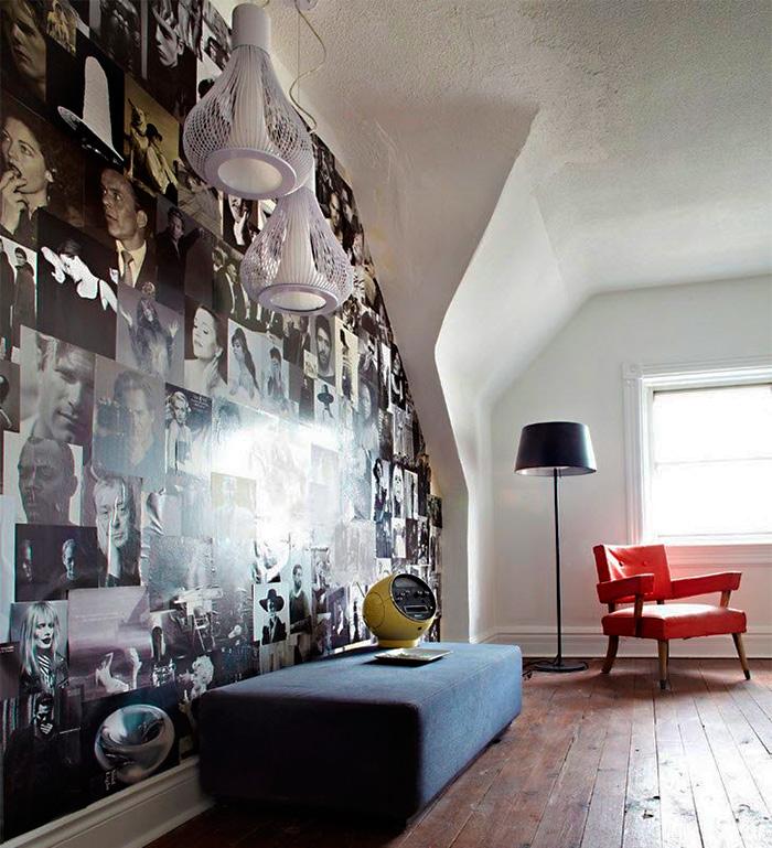 Preenchendo paredes com revistas, gravuras e imagens