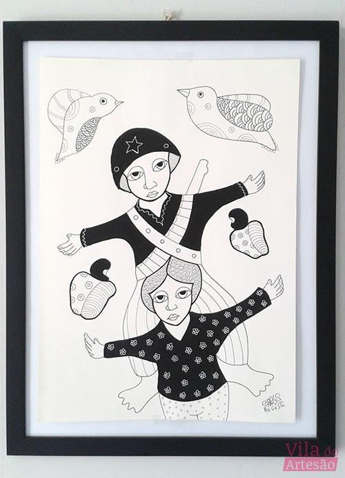 Cangaceiros, gravura de nanquim sobre canson