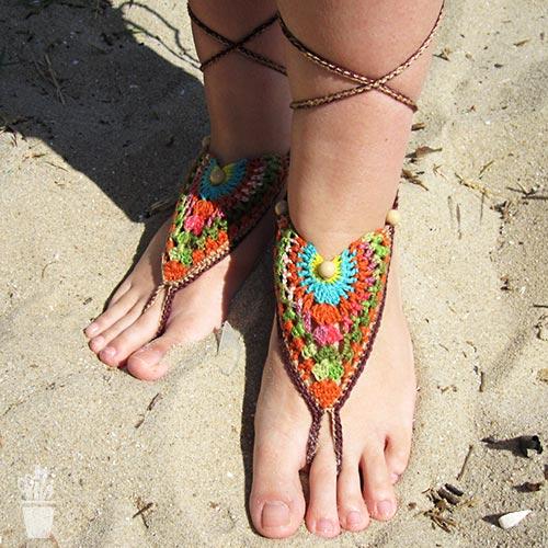 Adornos para os pés em crochê