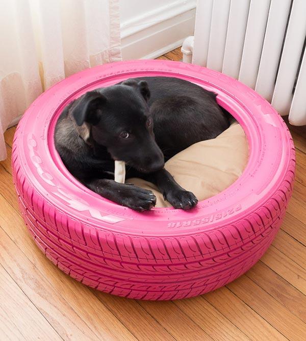Cama para cães usando pneu