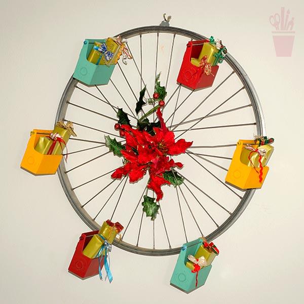 Enfeite de parede com aro de bicicleta