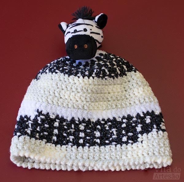 Gorro em crochê com zebra fio Gorro Kids