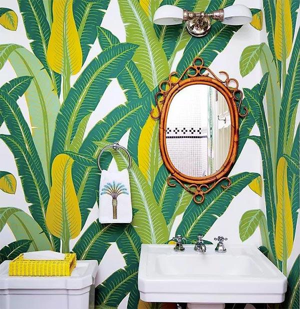 Estampa tropical no papel de parede