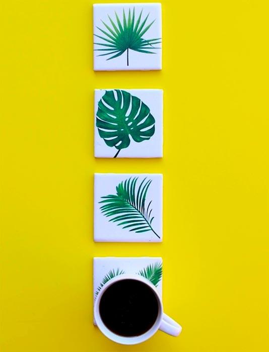 Detalhes do verde tropical nos acessórios
