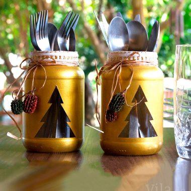 Reciclagem de potes de vidro para decorar a mesa de natal
