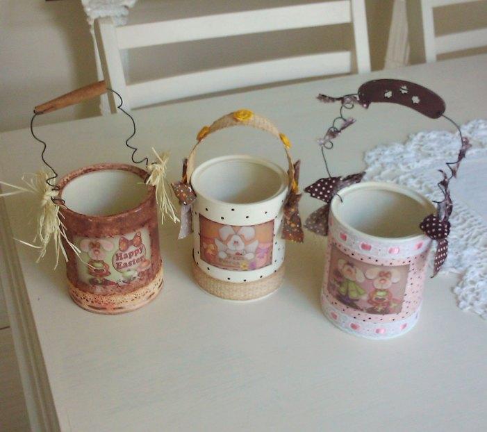 Misture tecido e papel para criar lindas latas decoradas