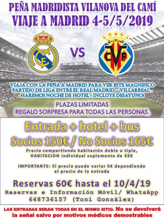 Cartell Penya Madridista del viatge a Villarreal
