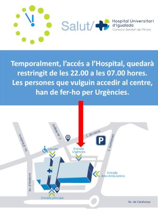 Acces hospital de les 22 h a 07