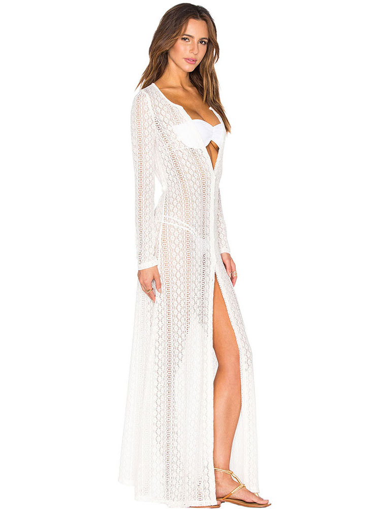 White Bohemian Breeze Long Sleeves Crochet Maxi Beach Coverup