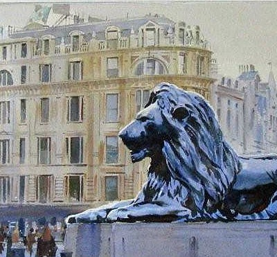 watercolour London Trafalgar square Lion