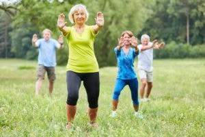 seniors doing tai chi - preventing slip and falls for seniors - viles and beckman