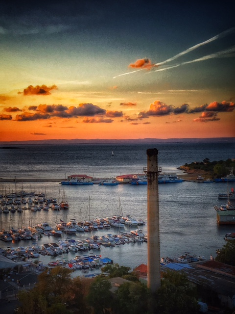 Sozopol marina and an old chimney