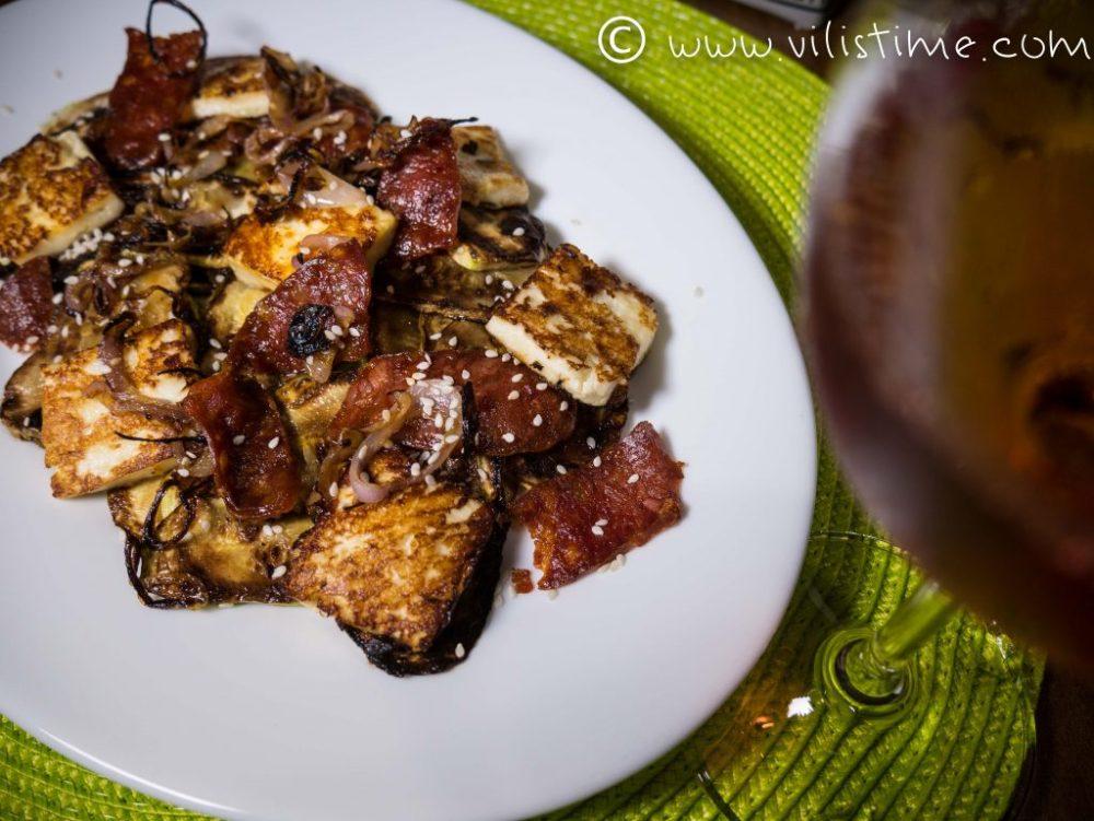Гриловани тиквички с кокосово масло и чоризо