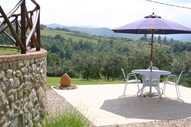 Sun terrace at villa with pool in Umbria