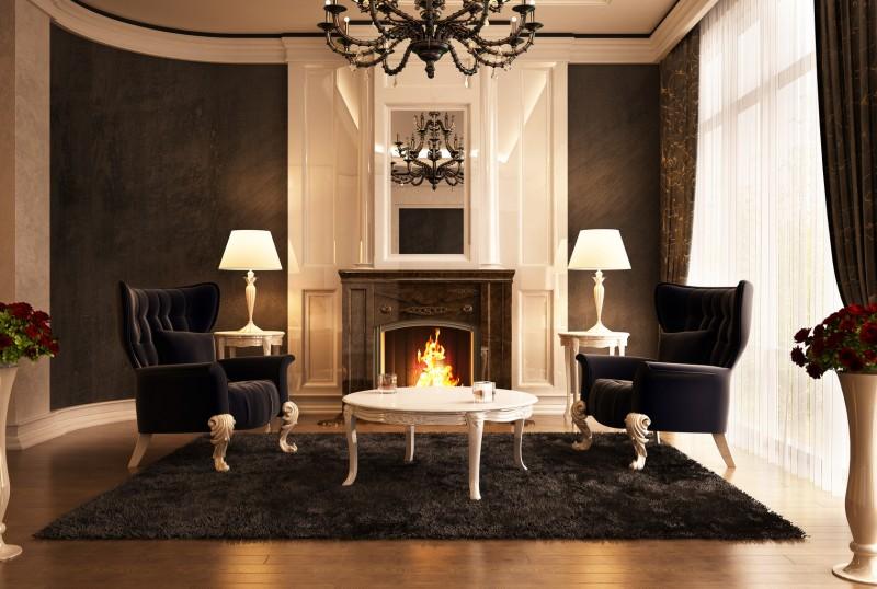 klasyczny salon zkominkiem