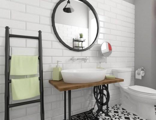 designerska łazienka shabby