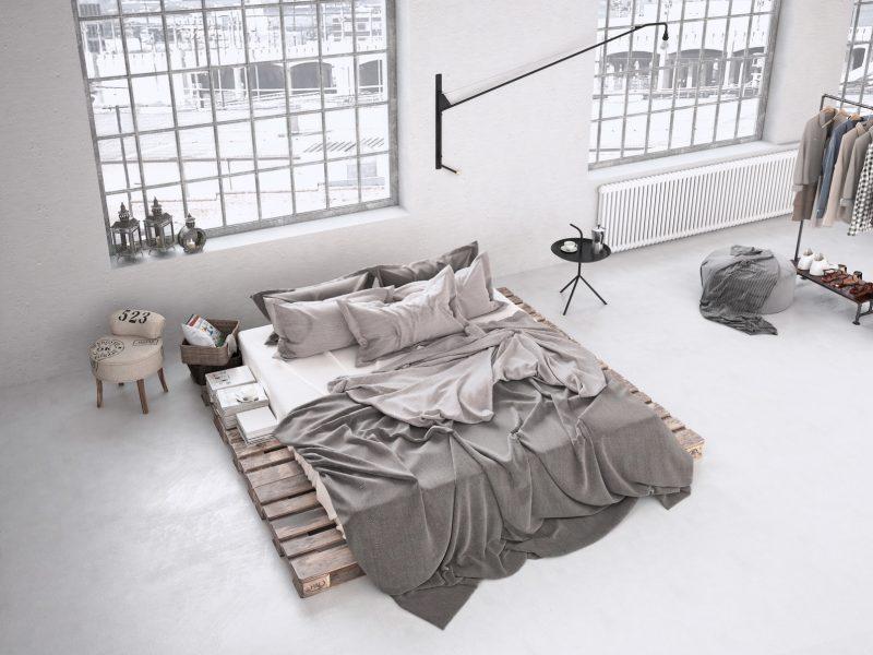 sypialnia wstylu loftowym