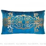 modna luksusowa poduszka turkusowo-złota