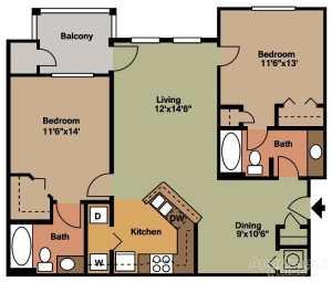 2 Bed / 2 Bath / 947 ft²