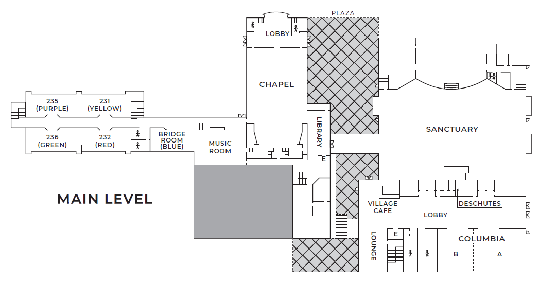 A map of the main level of Village Church
