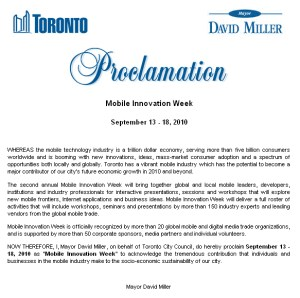 Mobile Innovation Week Proclamation