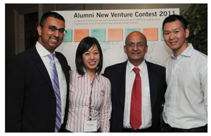 The CardSwap team comprised of Zaheed Poptia (MBA 2006), Frances Ho and Desmond Leung, all pictured here with HBS Dean Nitin Nohria. (CardSwap Inc)