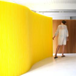 yellow textile molo softwall flexible room divider