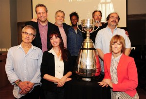 "Eight of Canada's most acclaimed documentary filmmakers gather at TSN's Hot Docs presentation unveiling their films for the documentary series, ""Engraved on a Nation: Stories of the Grey Cup, the CFL and Canada"". The documentaries premiere on TSN in September. (Photo: TSN)"