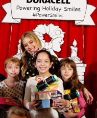"Hilary Duff kicks off the Duracell ""Powering Holiday Smiles"" program benefiting Children's Miracle Network by handing out toys and the Duracell batteries that power them at The Hospital for Sick Children (SickKids) in Toronto."