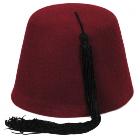 Village Hat Shop Maroon Fez w/ Black Tassel