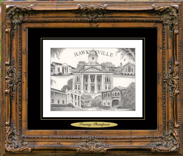 Pencil Drawing of Hawkinsville, GA