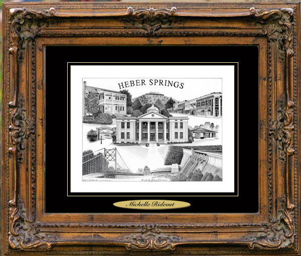 Pencil Drawing of Heber Springs, AR