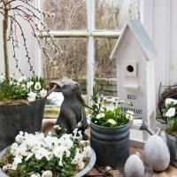 Erste Frühlingsdeko im Garten