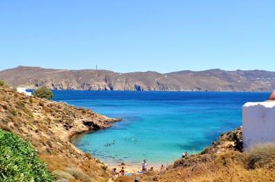 The peaceful beach of Agios Sostis in Mykonos