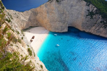 The popular Navagio beach, Zakynthos