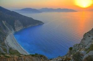 Sunset in Myrtos beach