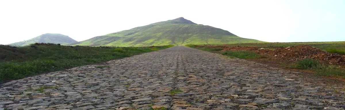 Cobbled road and mountain on Maio, Cape Verde