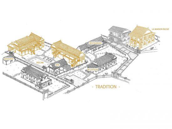 Localisation des Bâtiments tradition, Maison Bleue - Villa Maydou Boutique Hotel, Luang Prabang